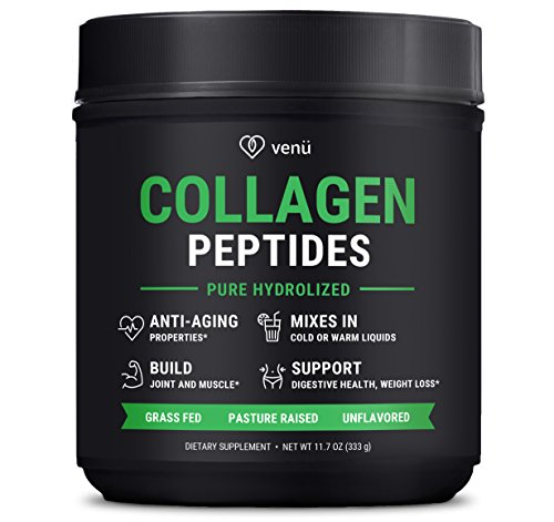Hydrolyzed Collagen Peptides Powdered Protein Mix - Pasture-Raised Grass-Fed Certified Paleo Friendly Non-Gmo & Gluten Free -Improves Digestive Health Builds Muscle & Anti Aging for Radiant Skin 16 oz