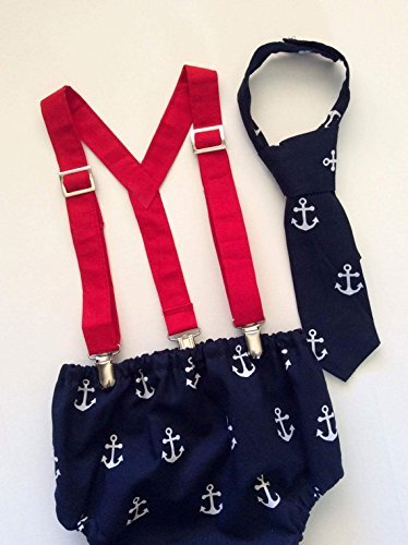 Nautical Anchor Boys Cake Smash First Birthday Outfit with Red Clip Suspenders and Neck Tie w/Optional Party Hat