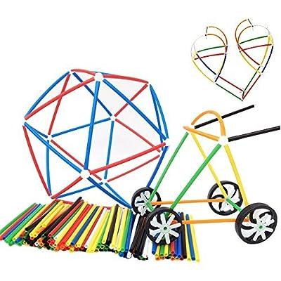 Eizur 4D DIY Big Paille Connecteurs Construction Construction Pailles Connecteurs Set Enginnering En Plastique Jouets 180 Pcs Pailles Pour Enfants