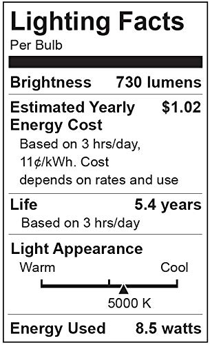 TCP L60A19N06V50K24 LED 60 Watt Equivalent, Eco$ave A19, Non-Dimmable Light Bulbs, 24 Pack, Daylight