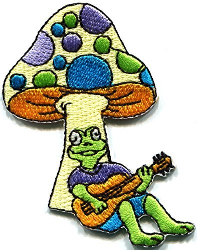 Mushroom toad frog boho hippie retro love peace weed shrooms trance embroidered applique iron-on patch new ()