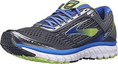 Brooks Men's Ghost 9 Anthracite/Electric Brooks Blue/Lime Punch 8 B US