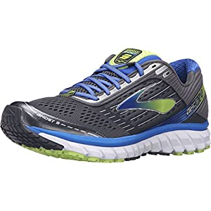 Brooks Men's Ghost 9 Anthracite/Electric Brooks Blue/Lime Punch 14 B US