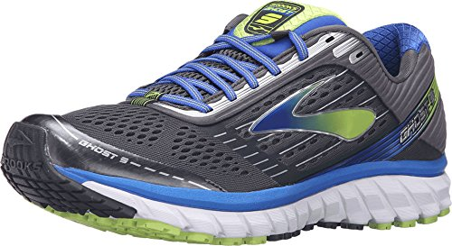 Brooks Men's Ghost 9 Anthracite/Electric Brooks Blue/Lime Punch Sneaker 10.5 D (New Lime Footwear)