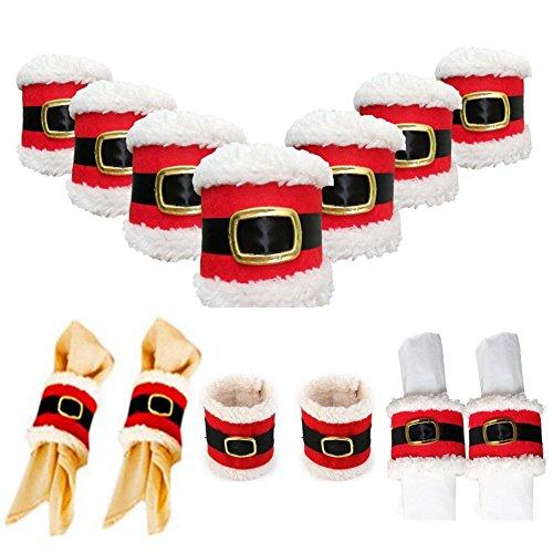 AISHNE 8 Pcs Christmas Belt Buckle Napkin Rings Wedding Banquet Dinner Decor Serviette Holders -