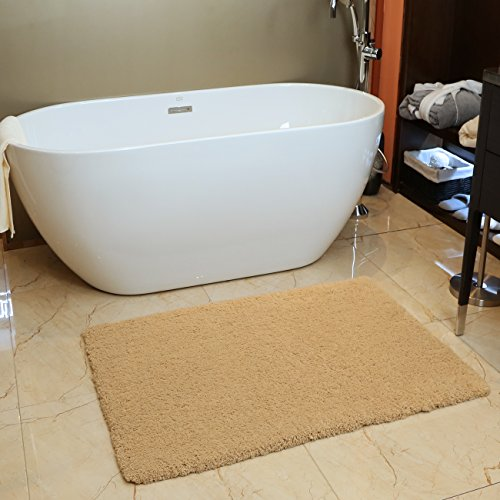 KMAT  Bath Mat Bathroom Rug Non-slip Soft Microfiber Khaki Shower Rugs 32 x 47 inch for Bathroom Bedroom Living Room