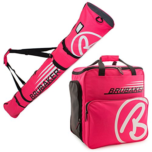 BRUBAKER Champion Combo - Limited Edition - Ski Boot Bag and Ski Bag for 1 Pair of Ski up to 170 cm, Poles, Boots and Helmet - Dark Pink ()