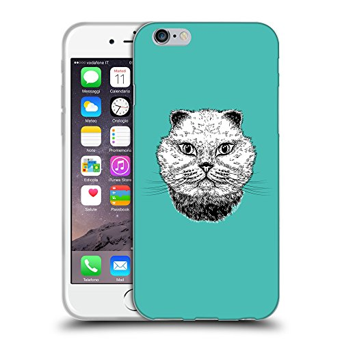 """GoGoMobile Coque de Protection TPU Silicone Case pour // Q05220634 gros chat Turquoise // Apple iPhone 6 4.7"""""""