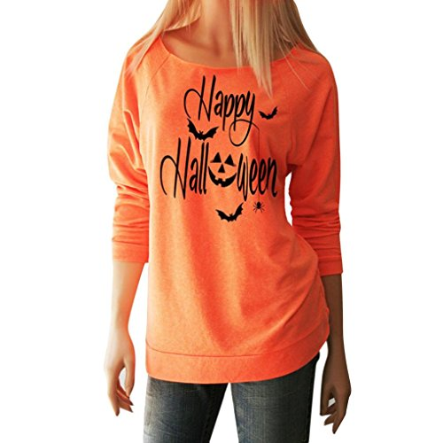 Price comparison product image T-Shirt Halloween Women Witch In Famous Long Sleeve Tops Blouse Shirt By Haolly (Orange C, L)