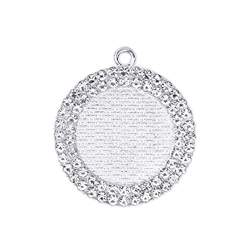 25mm Zinc Alloy Round Pendant Tray with Double Rhinestones Bezel Cabochon Settings Wholesale,Sold 10pcs/lot,Silver Plated