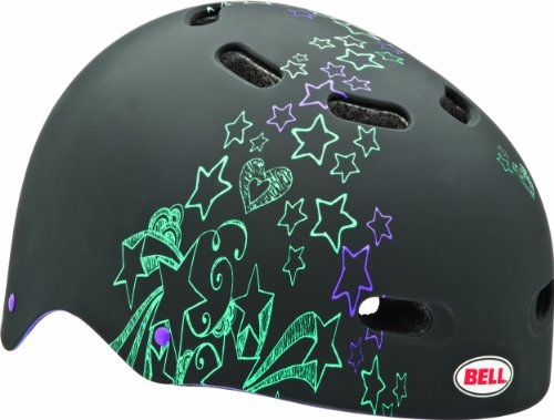 Bell Sports Black Multi Sport Helmet - Bell Youth Bike Candy Multi-Sport Helmet (Black and Green Doodle Stars, 53-56-cm)