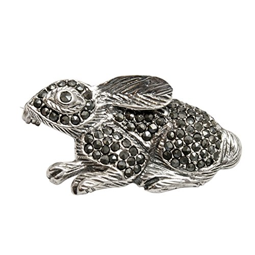 Sterling Silver & Marcasite Bunny Rabbit Pin Sterling Silver Marcasite Pin Brooch