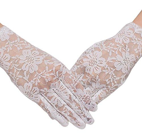EOZY Gant Blanc Dentelle Court Pour Marié Mariage Nuptial Cérémonie Soirée