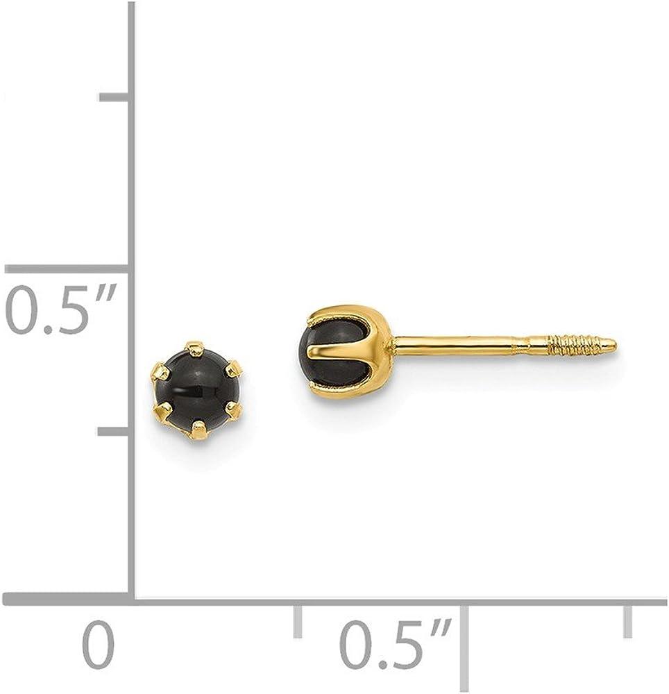 Mia Diamonds 14k Yellow Gold Madi K 3mm Onyx Post Earrings