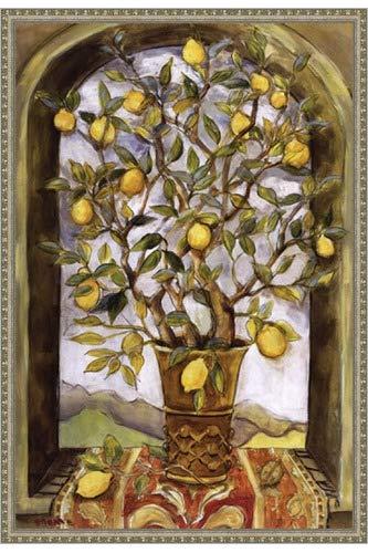 Poster Palooza Framed Lemon Branch Bouquet- 24x36 Inches - Art Print (Ornate Silver Frame)
