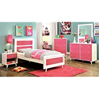 Alivia Pink & White Finish Full Size 5-Piece Bedroom Set / NO TRUNDLE
