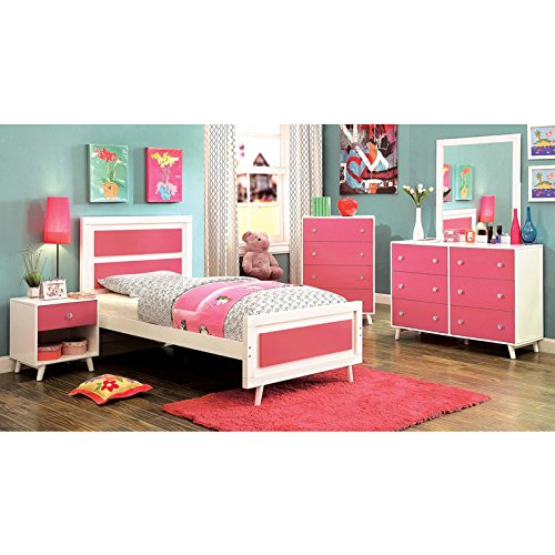 Alivia Pink & White Finish Full Size 5-Piece Bedroom Set / NO TRUNDLE by 247SHOPATHOME