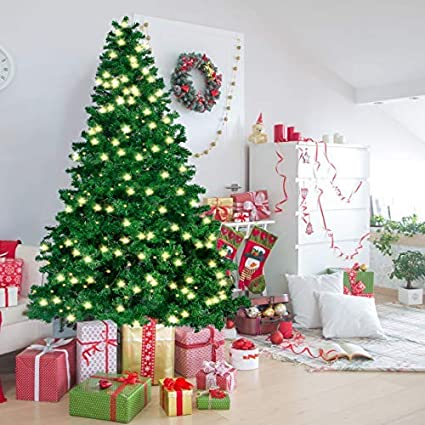 Joiedomi 7 5 Ft Prelit Christmas Tree Hinged Artificial Christmas Tree With 660 Clear Led Lights 8 Modes And Metal Stand