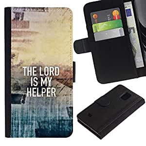 EuroCase - Samsung Galaxy S5 Mini, SM-G800, NOT S5 REGULAR! - THE LORD IS MY HELPER - Cuero PU Delgado caso cubierta Shell Armor Funda Case Cover