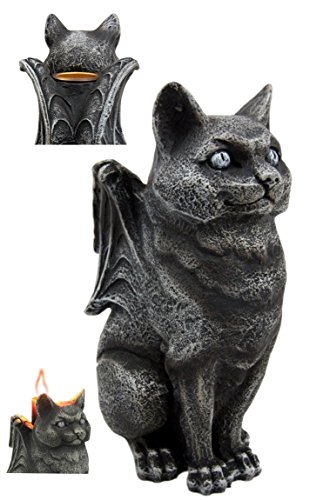 - Atlantic Collectibles Stoic Guardian Feline Cat Gargoyle Gothic Candleholder Figurine 5.5