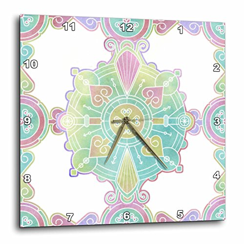 Moroccan Mandala Medallion Rainbow Watercolor - Wall Clock