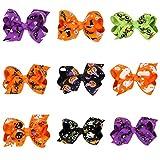 Gotd Baby Girls Halloween Bowknot Hairpin Headdres Gift Set (9 Pack Styles)