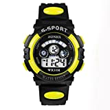 UPLOTER 2016 Boy Waterproof Digital LEDQuartz Alarm Date Children Sports Wrist Watch Yellow