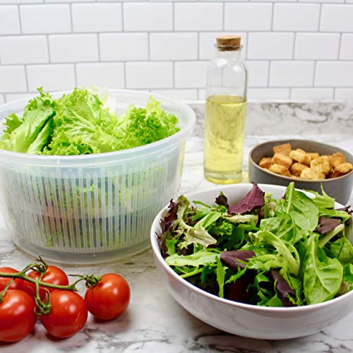 K Basix Salad Spinner Large, Vegetable Washer 4.5, Manual Lettuce Washer Dryer, Easy Water Drain System & Compact Storage, Secure Lid Lock & Rotary Handle, Cleaning & Drying Greens & Other Vegetables