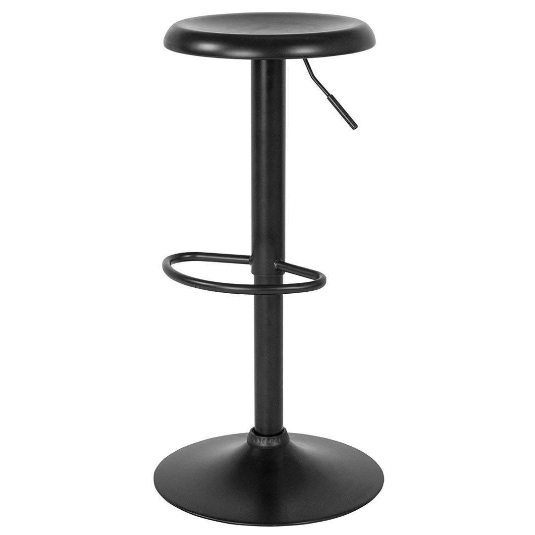 Contemporary Classic Design Metal Dining Round Backless Bar Stools Adjustable Height Swivel Seat Lounge Restaurant Diner Commercial Home Office Furniture - (1) Black #2205