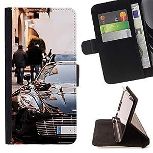 BullDog Case - FOR/HTC One M9 / - / car posh black sexy race chic design sports /- Monedero de cuero de la PU Llevar cubierta de la caja con el ID Credit Card Slots Flip funda de cuer
