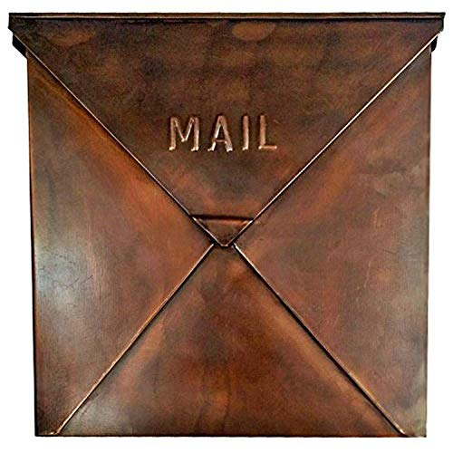 NACH MB-6635CP Rockford Mailbox, Copper Finish - Wall Mounted Post Box, 10 x 4 x 10 inch (Mailbox Mount Copper Wall)