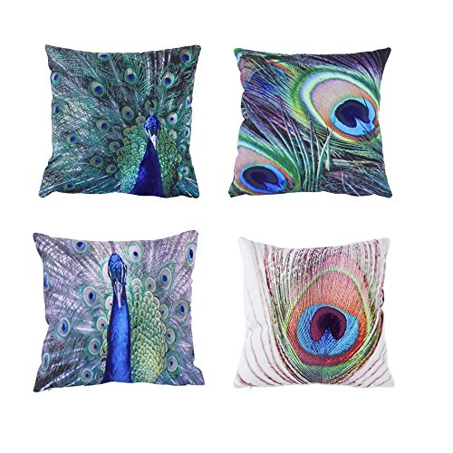 Pack of 4 JML Peacock Print Pattern Embossed Decorative 18 x 18 Inches Throw Pillow Case Cushion Covers (Pillow Covers, 4 Pack-Peacock)