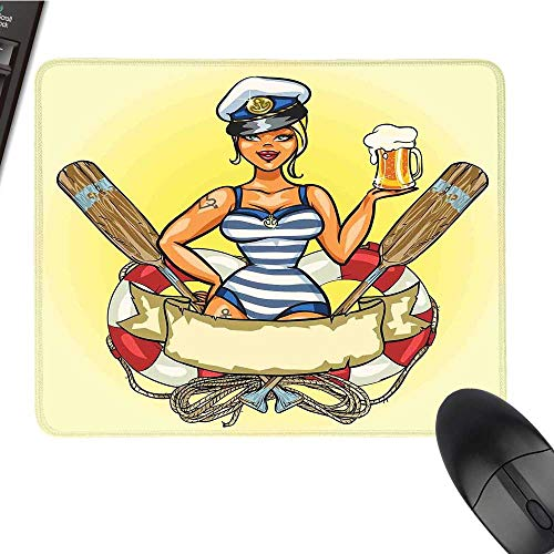 Girlslarge Mouse padPin-Up Sexy Sailor Girl Lifebuoy with Captain Hat and Costume Glass of Beer FeminineComfortable Mousepad 9.8