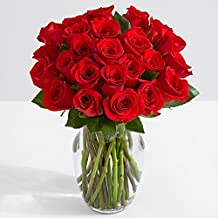 ProFlowers - 24 Count Red Two Dozen Red Roses with Glass Ginger Vase w/Free Clear Vase - Flowers - Valentine's Day