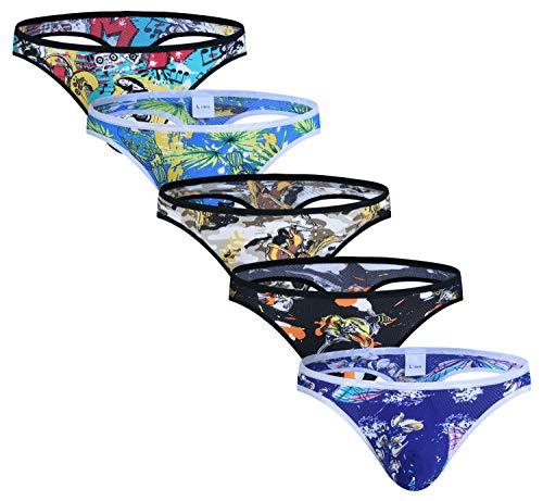ARCITON Men's Low Rise Bulge Thong Sexy Printed Mesh T-Back Mens Underwear X-Large(Waist: 32