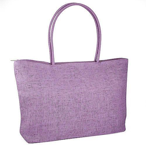 Gleader Damen Stroh Weberei-Sommer-Strand-Einkaufstasche Einkaufstasche mit Reissverschluss Reisen-Lila