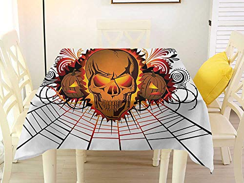 L'sWOW Camping Square Tablecloth Halloween Angry Skull Face on Bonfire Spirits of Other World Concept Bats Spider Web Design Multicolor Resistant 70 x 70 Inch