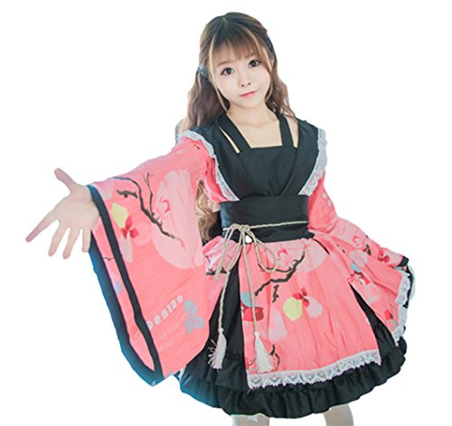 AvaCostume Womens Flower Printing Lace Edge Kimono Stlye Lolita Dress, Pink XS (Lolita Dress)