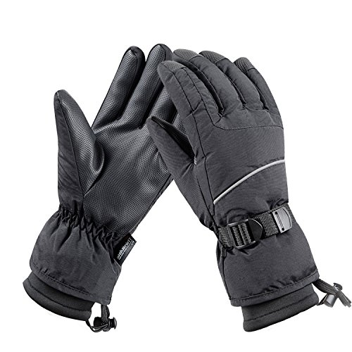 Camyod Waterproof Ski Snowboard Gloves With 3M Thinsulate  Cold Weather Gloves For Men Piping L