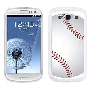 One Tough Shield ? Hybrid Flexible/Rigid Phone Case (White Bezel) for Samsung Galaxy S-III S3 - (Baseball)