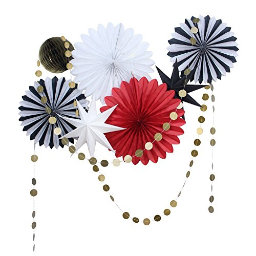 SUNBEAUTY Black Red White Tissue Paper Fans Gold Twinkle Star Paper Garlands Christmas Decorations Kit, 9 Pieces (Black White Red)