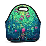 fdghfdh Rick and Morty dan Neoprene Lunch Bag Thick Insulated Thermal Lunch Tote Waterproof Outdoor Travel Picnic Carry Case Lunchbox Handbags with Zipper for Womens Boys Girls and Mens
