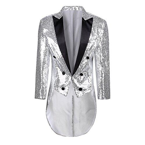 PYJTRL Mens Fashion Colorful Sequins Tailcoat Tuxedo (Silver,