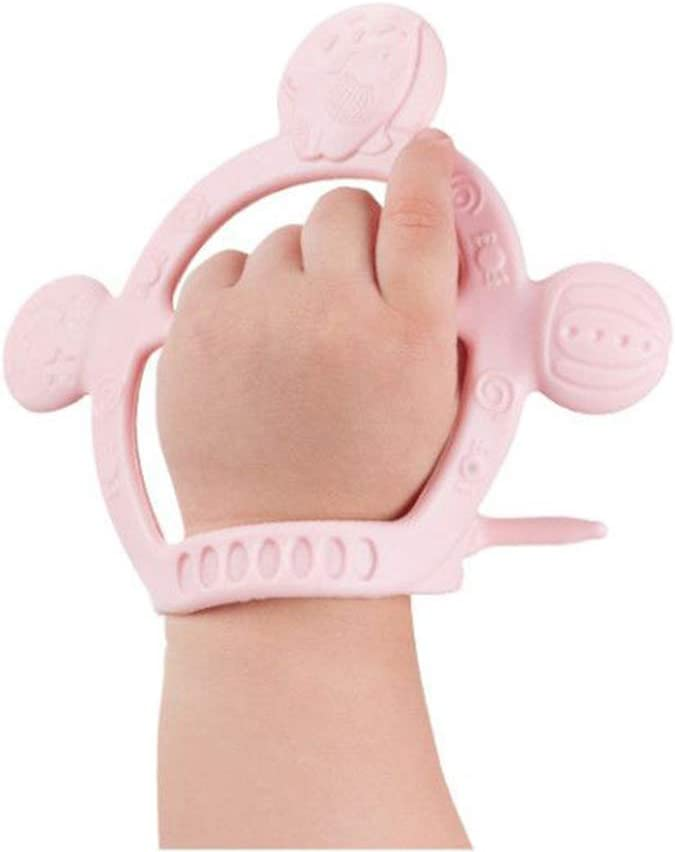 Without Parts Prevent from Dropping Off Pink BPA Free G-Tree Baby Silicone Bracelet Teether Toy