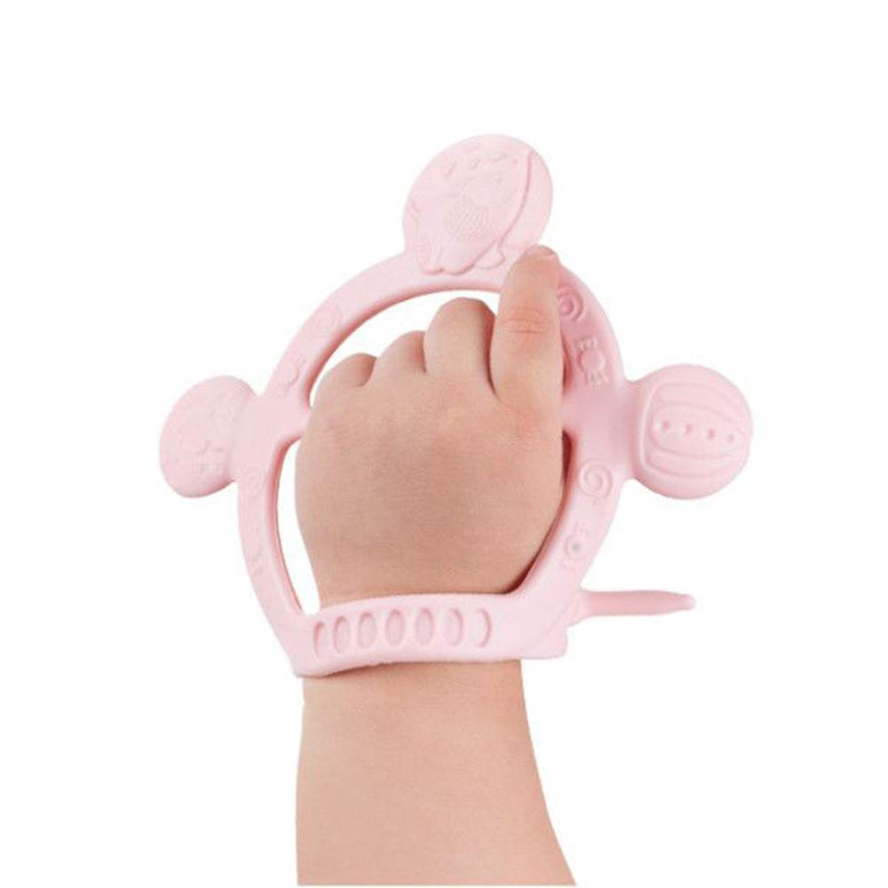 BPA Free Without Parts Pink babyease Prevent from Dropping Off Silicone Bracelet Teether Toy
