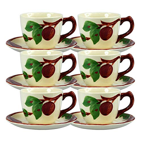TYWPYY 6 X Hand Painted Vintage Style Porcelain Coffee Coffee Cup & Saucer Set Franciscan Ware 0.25L Capacity Cups Saucers 14cm Diameter - Dishwasher, Freezer & Microwave Safe Fine Porcelain Tea Cup