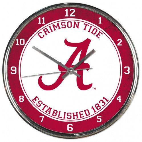 Wincraft Alabama Crimson Tide Established 1831 12 inch Round Wall Clock Chrome Plated Alabama Crimson Tide Clock