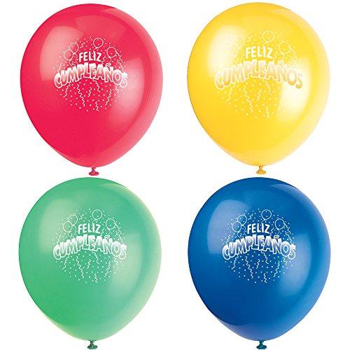 Latex Feliz Cumpleanos Balloons 8ct