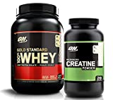 Optimum Nutrition Gold Standard Bundle - 150g Unflavored Creatine Powder - 2 LB Birthday Cake Whey