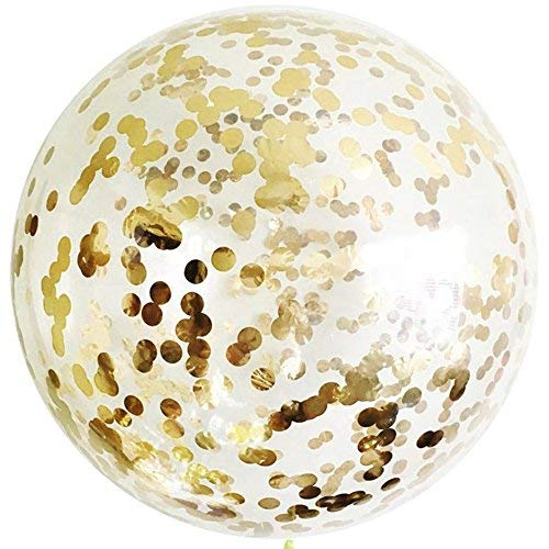 Letsparty 36 inch Confetti (Gold) Balloons 5pcs Balloons for Party Decorations or Festival